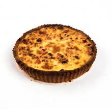 Quiche lorraine: ham, spek, ajuin en kaas
