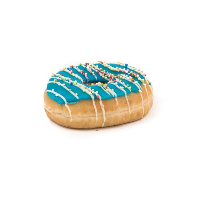 blauwe donut met kleine snoepjes